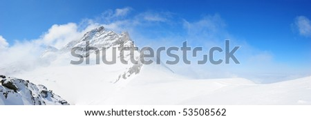 snow mountain, Top of Europe, Switzerland - stock photo