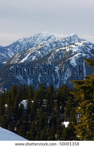 Snow mountain view from winter hiking. - stock photo