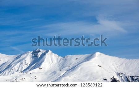 Snow mountain with blue sky - stock photo