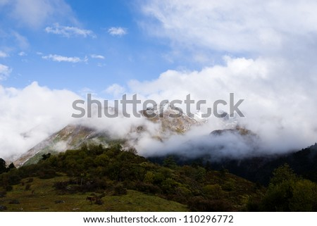 Snow moutain in sichuan,china. - stock photo