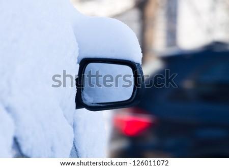snow on car - stock photo