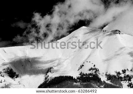 Snow on Sneffels Ridge near Telluride Colorado April 2010. - stock photo
