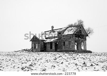 snow on the plains - stock photo
