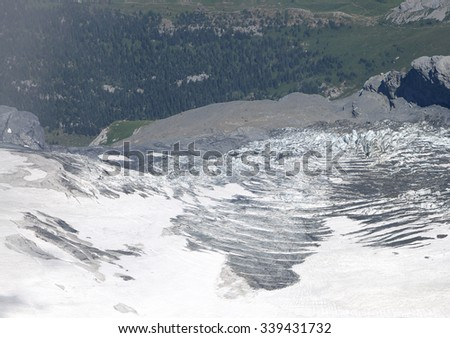 Snow on the slope of Monch and Jungfrau mountain - stock photo