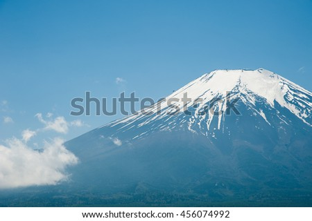 Snow on top Mountain Fuji in winter sunrise at Kawaguchiko Lake, left space of frame,,  natural landscape.. - stock photo