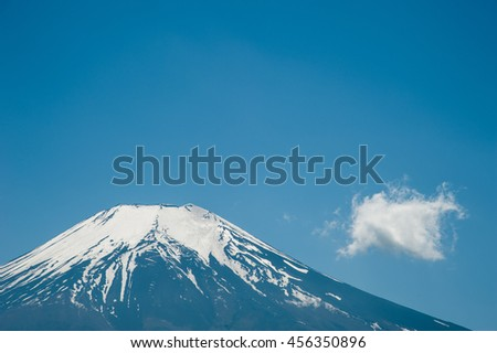 Snow on top Mountain Fuji with blue sky and little cloud in winter at Kawaguchiko Lake, right space of frame.