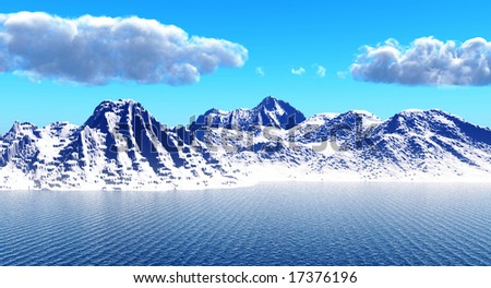 Snow peak mount on a blue sea
