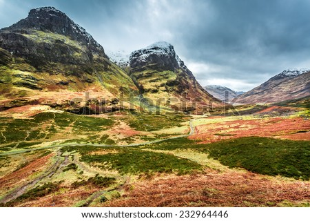 Snow peak of mountains in Scotland - stock photo