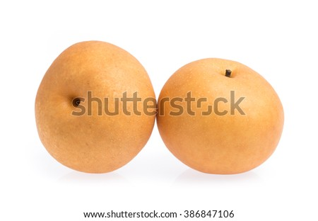 snow pear isolated on white background - stock photo