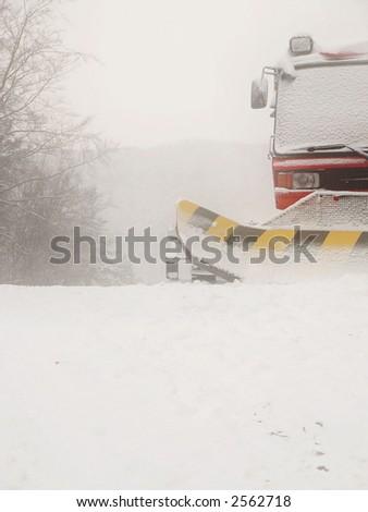 Snow plow- blizzard - stock photo