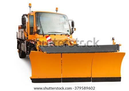 Snow plow removal vehicle isolated on white background with clipping path  - stock photo