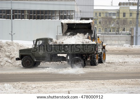 Snow removal on city streets. Orenburg, Russia. 07.02.2009