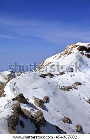 Snow ridge and footpath to the top. Turkey, Central Taurus Mountains, Aladaglar (Anti Taurus).  - stock photo