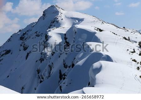 Snow route to Rippetegg peak, Austria - stock photo
