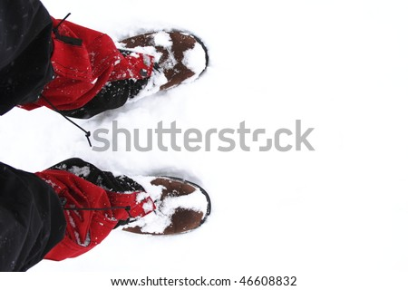 Snow shoes on a white snow during hiking in winter - stock photo