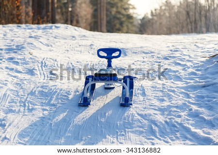snow sleigh the rudder - stock photo