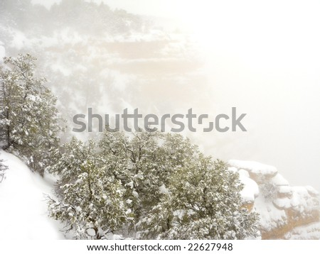 Snow Storm at Mother Point in Grand Canyon, Arizona