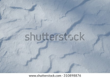 snow texture. atmospheric water vapor frozen into ice crystals and falling in light white flakes or lying on the ground as a white layer - stock photo