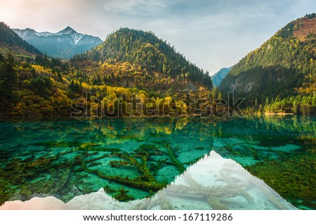 Snow tops of mountains, autumn paints of wood and transparent lakes Jiuzhaigou park