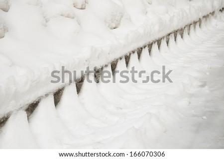 Snow, track, skirting - stock photo