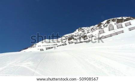 snow tracks with Heaven - stock photo