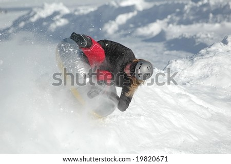snow tubing - stock photo