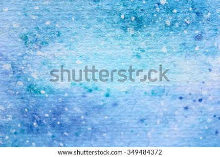 Snow Watercolor on Blue Background 2 - stock photo