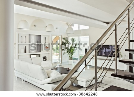 Snow-white living room interior in modern style - stock photo
