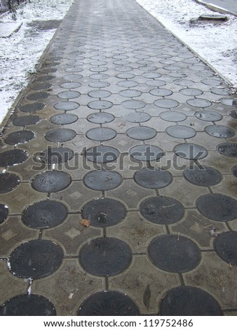 snow winter pavement - stock photo