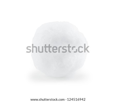 Snowball closeup on white background - stock photo