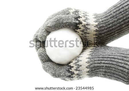 Snowball in palms - stock photo