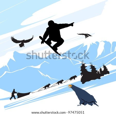 Snowboard man jump on the snow mountains background - stock photo