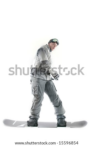 Snowboarder in gray clothes, isolated - stock photo