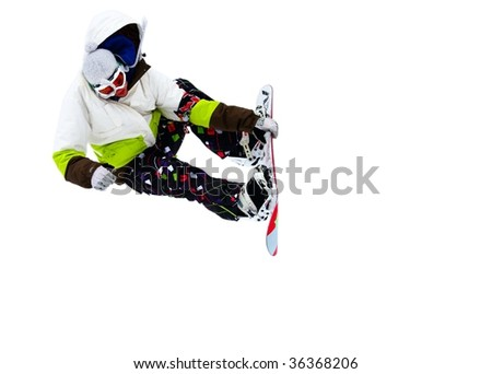 Snowboarder isolated on a white background - stock photo