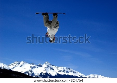snowboarder jumping - stock photo