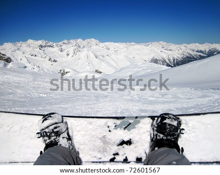 Snowboarder Point Of  View On His Feet Upon The Slope - stock photo