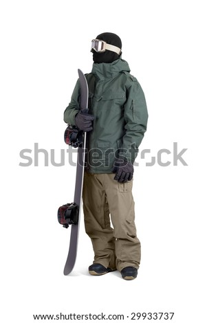 Snowboarder standing with his board