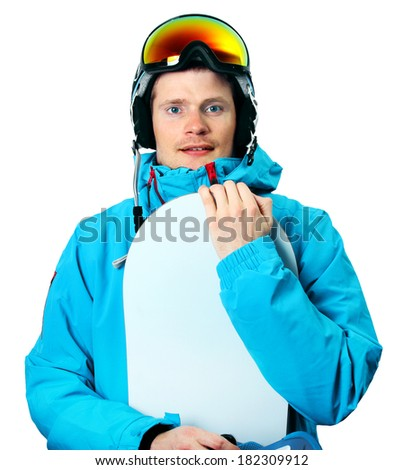 snowboarder with board isolated on white - stock photo