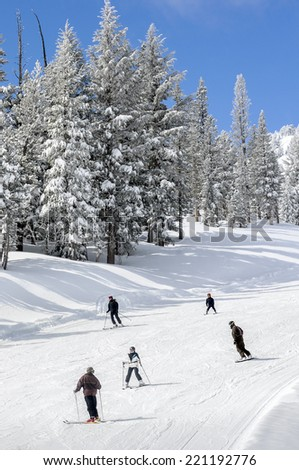 Snowboarders and Skiers on the slopes - stock photo
