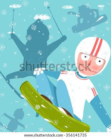 Snowboarding skiing funny free rider jump stock illustration snowboarding and skiing funny free rider jump fun poster design funky snowboarding winter exercise fun stopboris Gallery