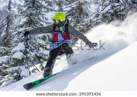 Snowboarding in the winter