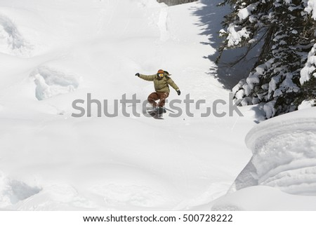 Snowboarding Young Adrenaline Rush Fast High Speed Action
