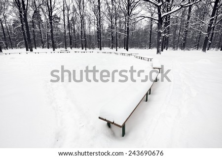 snowbound public area with benches in city park in winter - stock photo