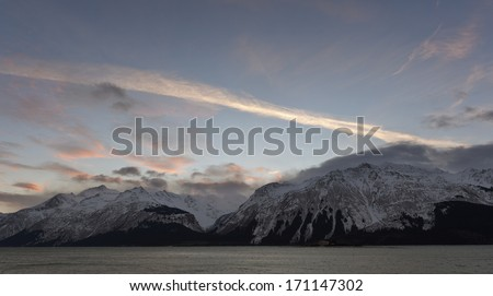 Snowcovered Mountains in  Alaska. Chilkat State Park. Mud Bay. HAINES. Alaska. USA - stock photo
