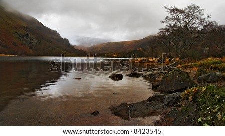 Snowdonia lake in wales uk