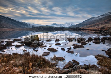 Snowdonia National Park in winter with snow on the ground North Wales