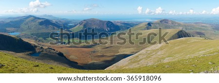 Snowdonia National Park, view from Mount Snowdon, Wales, UK