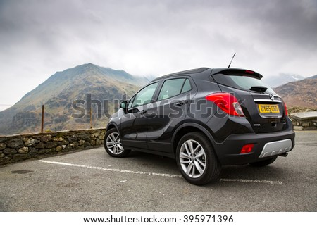 Snowdonia, United Kingdom - March 22, 2016: View of a 2016 Vauxhall Mokka, a compact SUV.