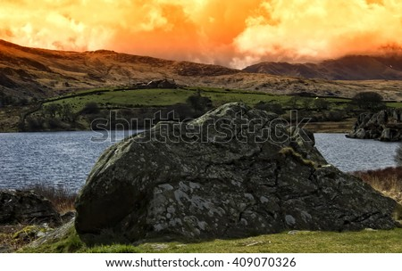 Snowdonia Wales National park landscape in the morning - stock photo