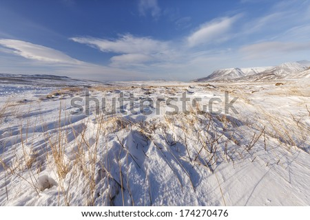 Snowdrifts in South Iceland.Close to Reykjavik city/Snowy winter - stock photo